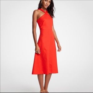 NWT Ann Taylor Cross Neck Halter Midi Dress